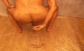 Mature man smearing poop