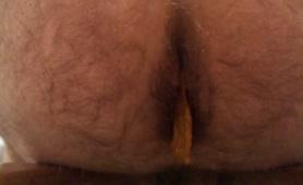 Hairy guy peeing