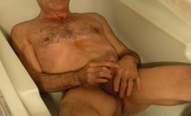 Old man masturbating hard with saved shit
