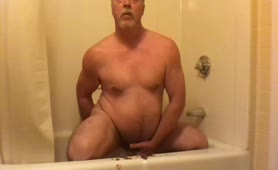 Old guy masturbating with fresh shit