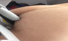 Giant guy shitting on a dildo