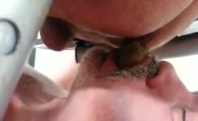 Old man eating poop