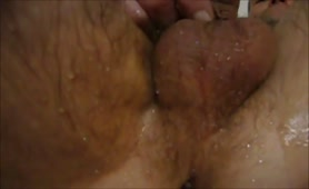 Jerking off hard with scat on his cock