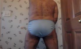 Huge turd in blue undies