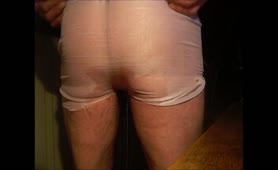 Gay guy shitting and peeing in his white undies