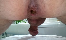 Long brown turd on a white napkin made his cock erect