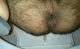 Hairy man dropped a big thick turd