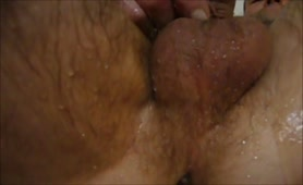 Mature man smearing shit on his cock