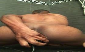 Dirty black boy farting loud while masturbating