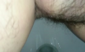 Hairy dude shitting after meeting