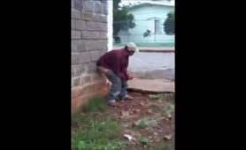 Drunk guy pooping in the streets
