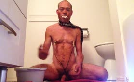 Jerking off hard with his fresh shit