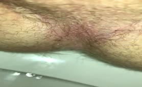 Hairy college boy shits in toilet