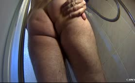 Cum on bathroom floor after pooping
