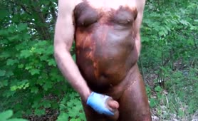 Chubby guy masturbating with shit
